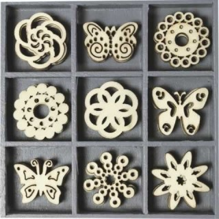 Caja 45 siluetas de madera Mandalas y mariposas