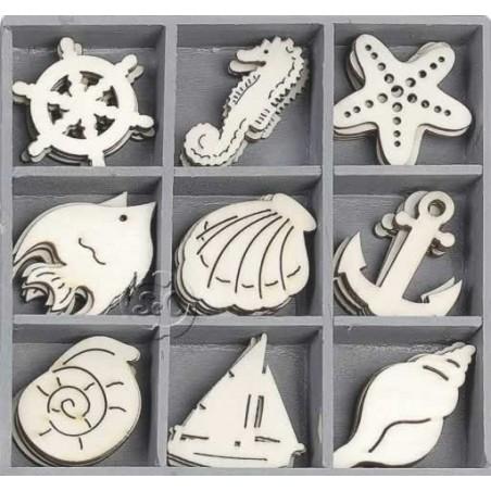 Caja 45 siluetas de madera Mar y playa