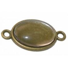 Camafeo ovalado color bronce con 2 anillas 2 x 1,5 cm