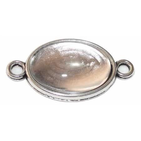 Camafeo ovalado color plata con 2 anillas 2 x 1,5 cm