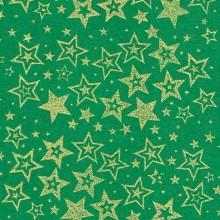 Planchas de goma eva estampada verde Estrellas oro