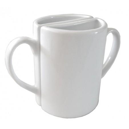 Taza de porcelana blanca doble Tu y Yo