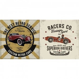 Papel sublimacion 30 x 60 cm Retro car