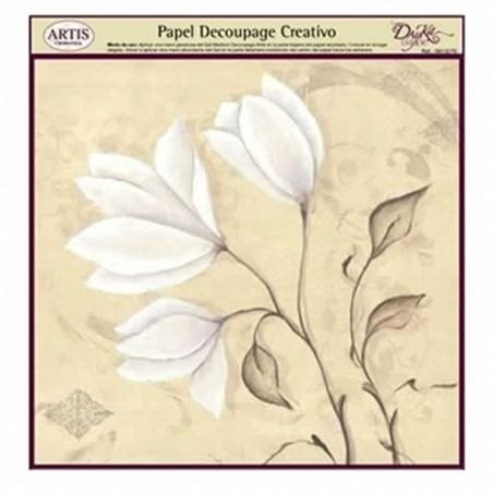 Papel Dayka decoupage creativo 0813276 Flores blancas