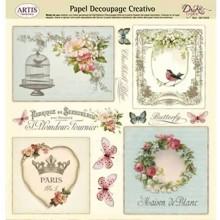 Papel Dayka decoupage creativo 0813394 Mariposas y flores