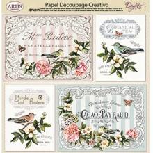 Papel Dayka decoupage creativo 0813405 Flores con pajaros