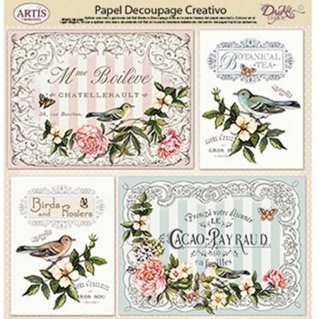Papel Dayka decoupage creativo 0813405 Flores y pajaros