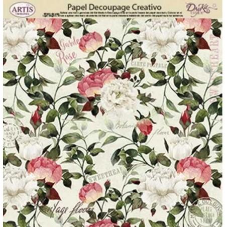 Papel Dayka decoupage creativo 0813408 ramas con flores