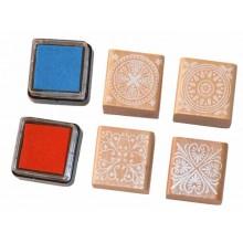 Sellos de caucho en madera ornamentos 3 cm mas tintas