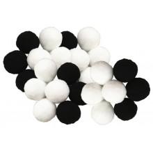 Bolas o pompones 1 cm blanco y negro