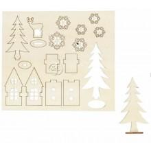 Figuras Navidad de madera pre cortadas Abetos y estrellas