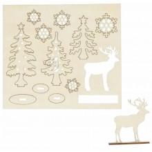 Figuras Navidad de madera pre cortadas Abetos y copos de nieve