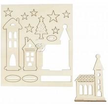 Figuras Navidad de madera pre cortadas Iglesia y estrellas