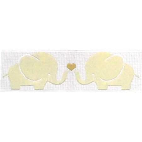 Cinta infantil elefantes beige 1 metro