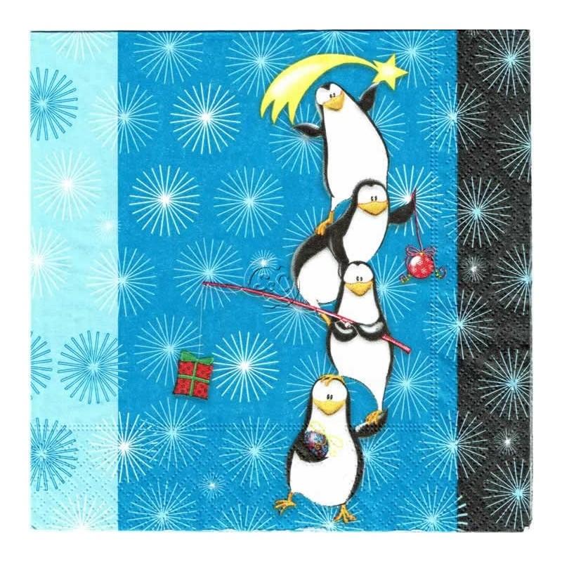 Servilleta decorada navidad Pingüinos nivideños