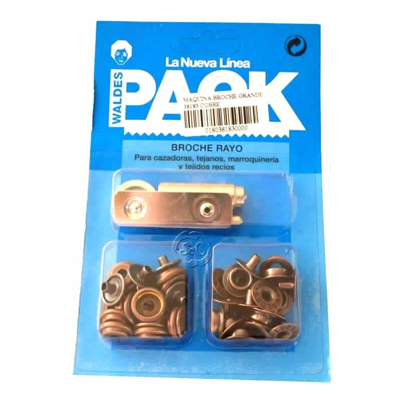 Automaticos de broche en pack color cobre 14 mm