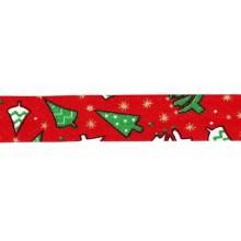 Cinta bies Navidad rojo abetos 18 mm. 1 metro