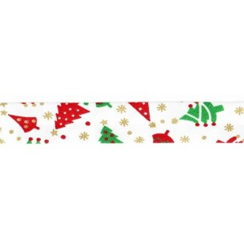 Cinta bies Navidad blanca abetos 18 mm. 1 metro
