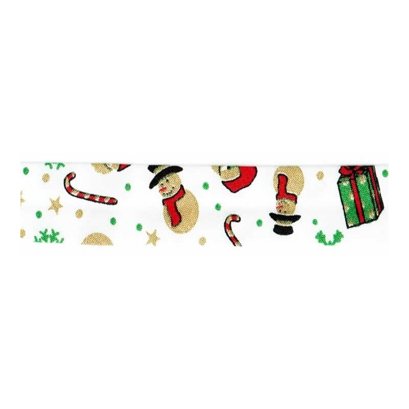 Cinta bies Navidad blanca Papa Noel 18 mm 1 metro