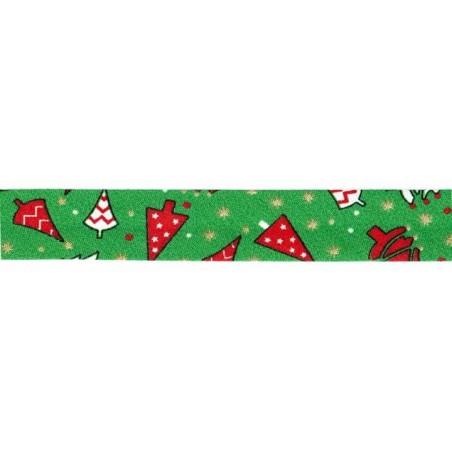 Cinta bies Navidad verde abetos 18 mm. 1 metro