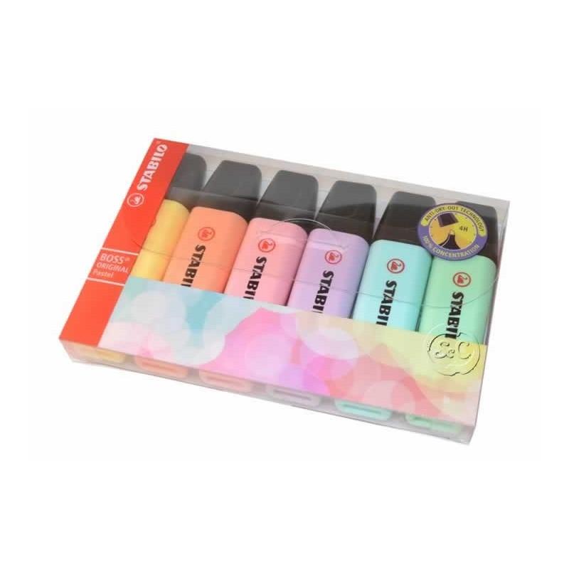 Rotulador marcador STABILO set de 6 pastel