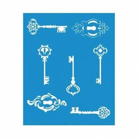 Plantilla stencil llaves y cerraduras 17 x 21 cm