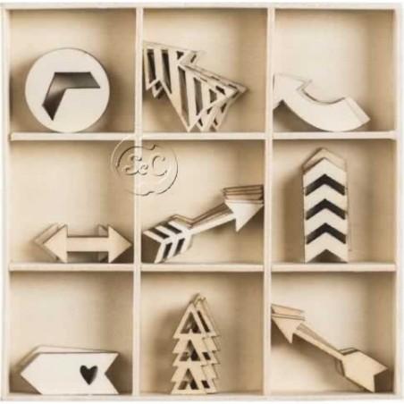Caja 45 siluetas de madera Flechas