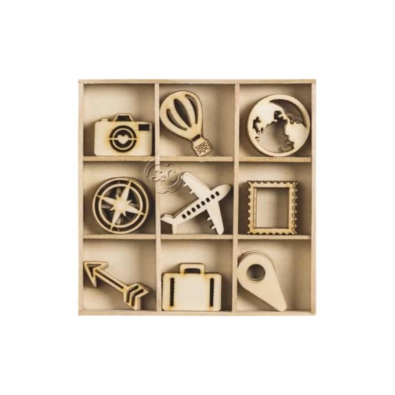 Siluetas de madera de viajes 45 piezas