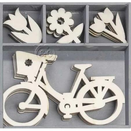 Caja con 20 siluetas de madera de bicicleta y flores