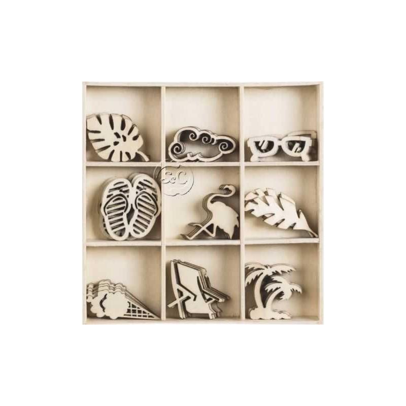 Siluetas de madera de vacaciones 45 piezas