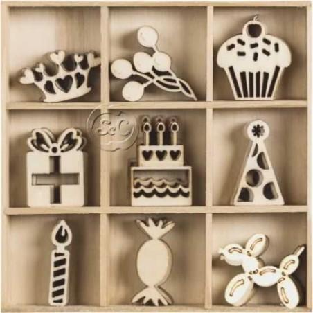 Siluetas motivos fiesta 45 piezas de madera