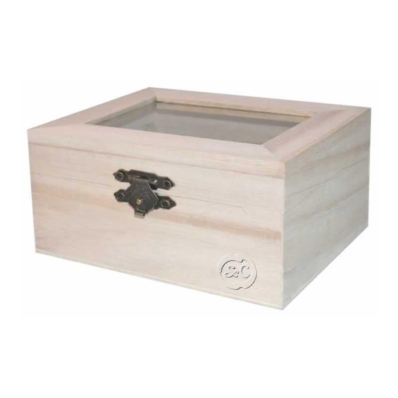 Caja madera rectangular tapa de cristal 12 cm