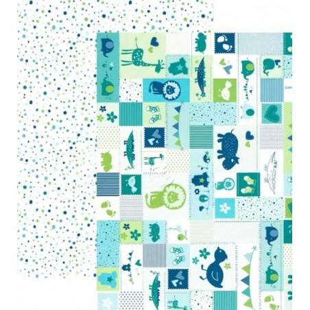 Papel scrap infantil azul doble cara 25 x 35 cm 300 gr