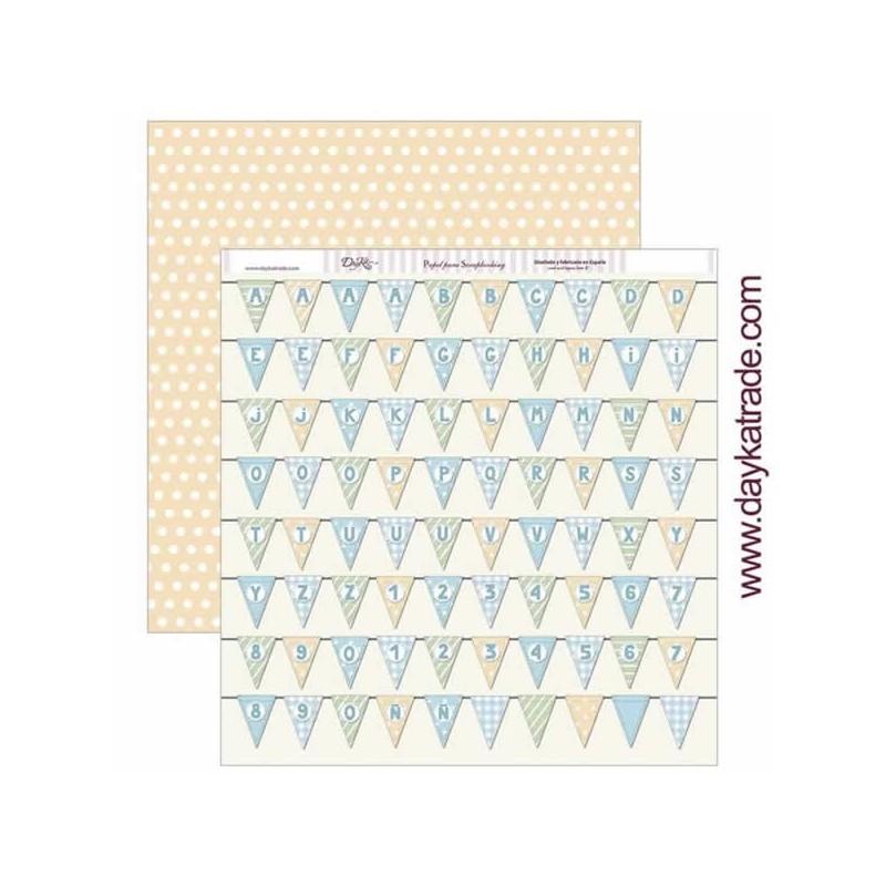 Papel scrapbooking Dayka Banderines letras y numeros SCP-264