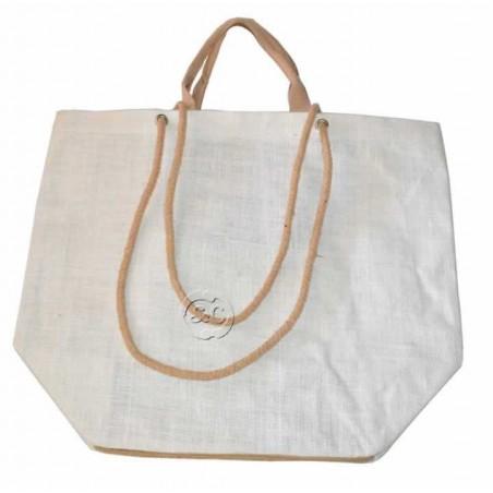 Bolso de yute grande color marfil 40x29x20cm