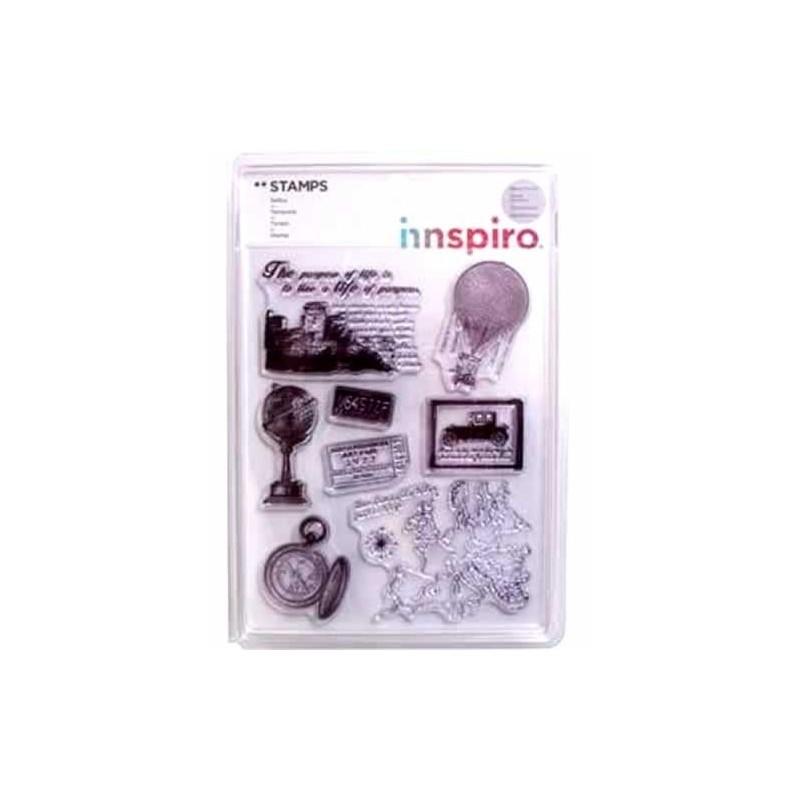 Set de 10 sellos de silicona transparente Viajes