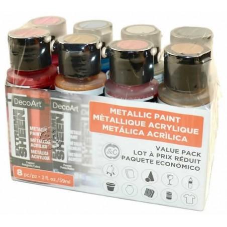 Pack economico 8 botes americana metalica alto brillo Decoart DASK 420 59 ml