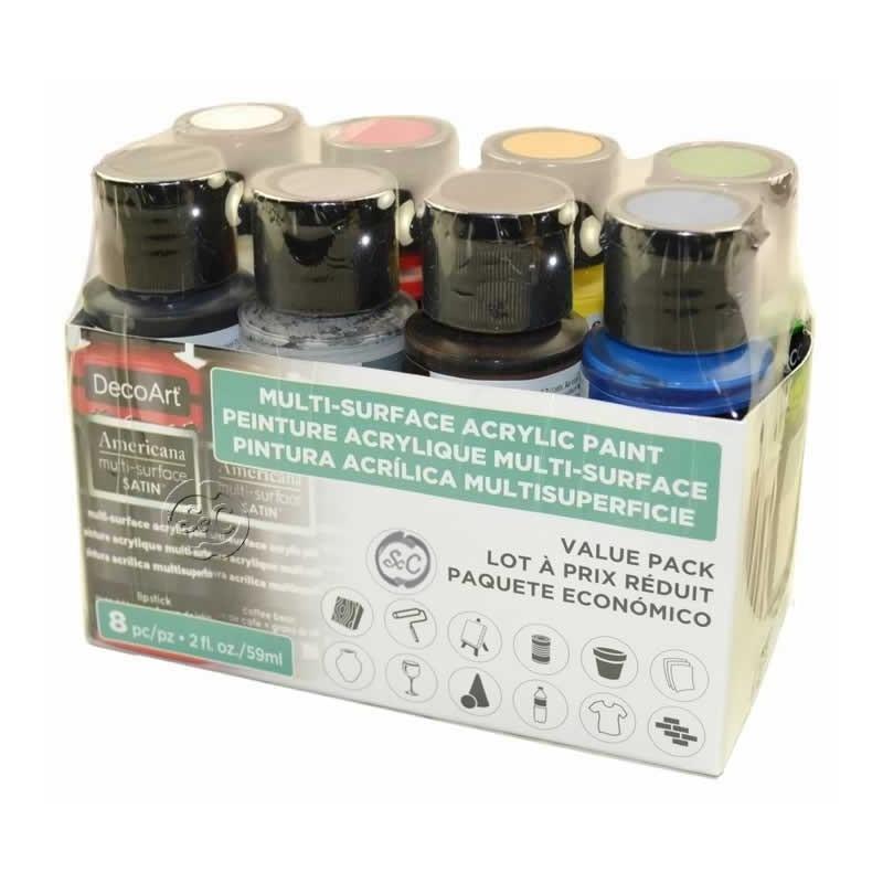 Pack economico 8 botes americana multisuperficie Decoart DASK 422 59 ml
