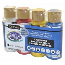 Pack economico 4 botes americana colores basicos Decoart DASK418 59 ml