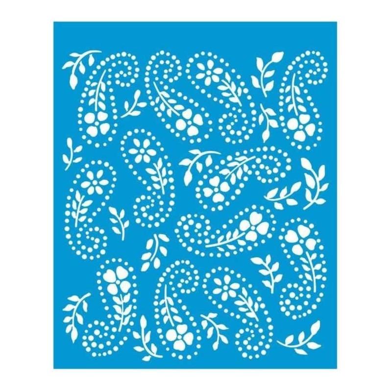 Plantilla stencil cachemir de Flores 17 x 21 cm