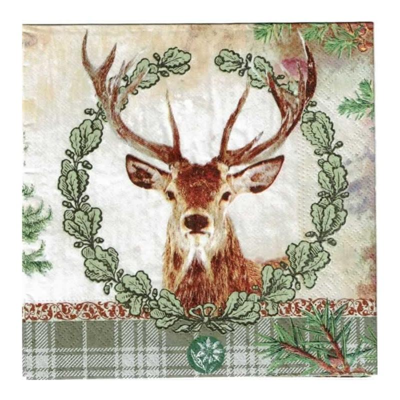 Servilleta decorada navidad Reno con corona