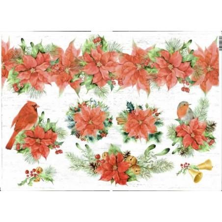 Papel de arroz navidad flor de Pascua 35 x 45 cm