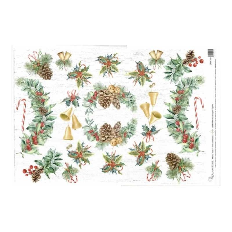 Papel de arroz corona de acebo de navidad 35 x 45 cm