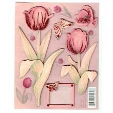 Etiquetas auto adhesivas 3D tulipanes rosas