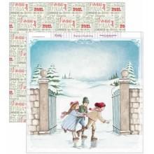 Papel scrapbooking Dayka Niños patinando en Navidad