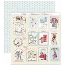 Papel scrapbooking Dayka etiquetas de Navidad SCP-230