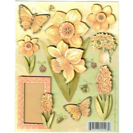 Etiquetas auto adhesivas 3D Flores y mariposas