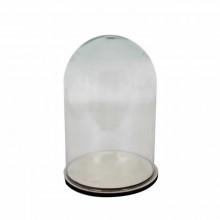 Cupula de cristal base de madera 18 x 25 cm