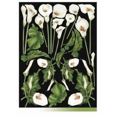 Papel decoupage calas blancas 50 x 70 cm