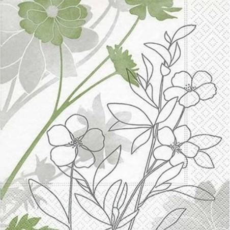 Servilleta decorada flores exoticas